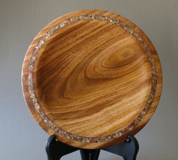 Chestnut Plate with Inlayed Stone Wooden Hand Turned