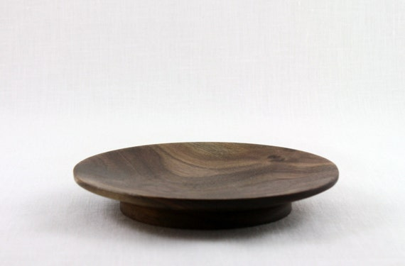Hand Turned Wooden Walnut Dish  with a small pedestal