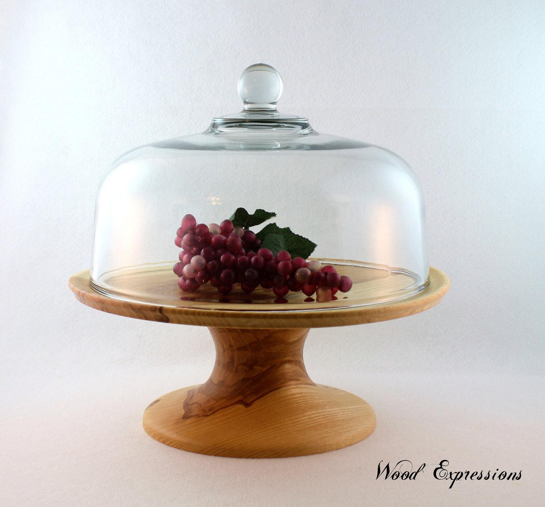 wooden ash pedestal cake stand with glass dome. Black Bedroom Furniture Sets. Home Design Ideas