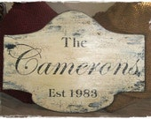 """PERSONALIZED Vintage Family Name Sign, Vintage Signs, Shabby Cottage Sign 13 x 18"""""""