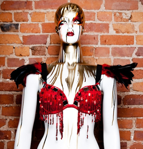 Red Feather Sequin Bra