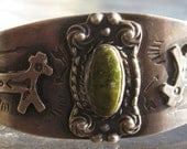 Vintage  sterling & turquoise cuff with Native American stampings