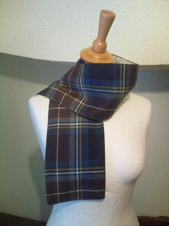 Edinburgh tartan scarf in blues and browns
