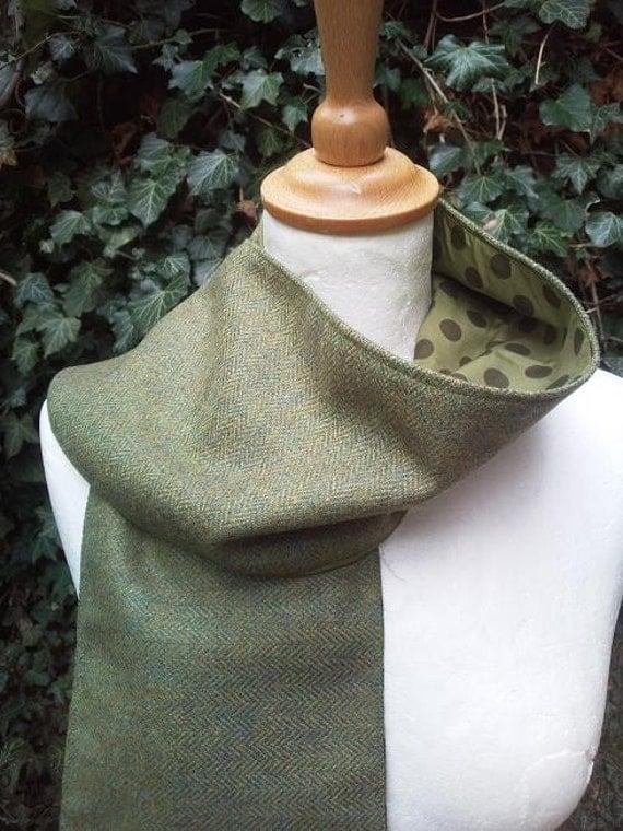 green herringbone wool scarf with polkadot lining