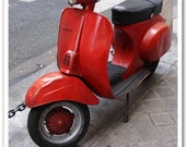 5x7 fine art photograph /// cherry red vespa /// paris photo by lesley sico