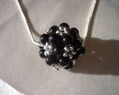 Black obsidian pendant, silver necklace, 4mm obsidian beads, 4mm beads, silver seed beads, 4mm gemstone, seed beads, silver snake chain