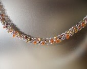 Silver necklace with sparkling orange glass beads, summer colours, silver lame thread, beach fun, holiday jewelry, silver necklace