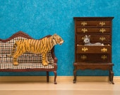 2 for 1 SALE - tiger and rabbit art print, turquoise, Victorian decor, diorama - The Odd Couple