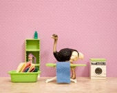 2 for 1 SALE - laundry room decor, ostrich art print, lavender: Laundering Large