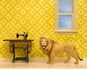2 for 1 SALE - lion art print, mustard yellow, leo, sewing room: I Am Sewing, Hear Me Roar