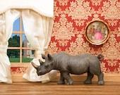 2 For 1 SALE - rhino art, animal print, miniature diorama, damask - Better Homes and Rhinos