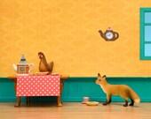Fox and hen art, farmhouse kitchen diorama, kids farmhouse decor - Fox In The Henhouse
