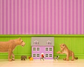 2 for 1 SALE - bright nursery decor art print, baby lion, cute animals, green and purple: Lion Play