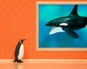 penguin and whale print, diorama, bright orange and aqua blue: Emperor Penguin