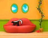 2 for 1 SALE - Dali inspired surreal wall art, skunk diorama, lip sofa: Skunky Surrealism