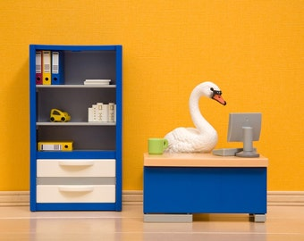 Office decor, unique office art, cubicle decoration: The Stay at Home Swan