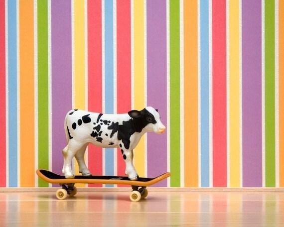 Skateboarding cow art print for kids, nursery decor, rainbow: Rebel With A Moo