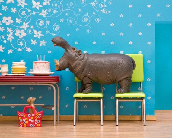 Hippo art, diorama, retro kitchen, blue, birthday: Hungry, Hungry Hippo