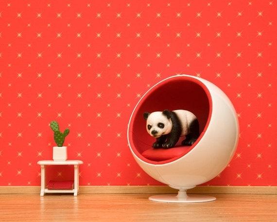Panda, mid century modern art print, ball chair, kids room: Panda Ball