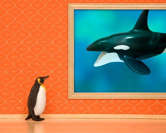 penguin and whale print, diorama, bright orange and aqua blue: Emperor Penguin
