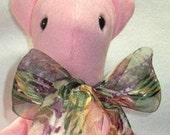 Pretty in Pink Soft Sculpture Velour Teddy Bear OOAK