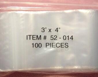 100 3 x 4 Clear Poly Plastic Zip Top Ziplock Bags Food Safe