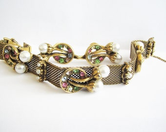 Vintage Signed Judy Lee Mesh Rhinestone & Pearl Fruit Salad Bracelet and Earrings Set
