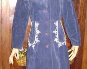 Vintage 60'S Blue Velvet Coat Sz S