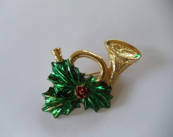 Vintage Enamel Holiday Horn With Holly  Pin Signed Gerrys