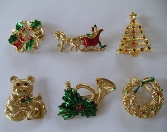 6 Vintage Christmas Pins signed Gerrys