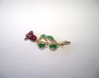 Vintage Enamel Rose Pin  Signed Gerrys