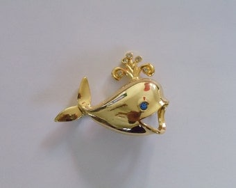 Vintage Whale Pin  Signed Gerrys