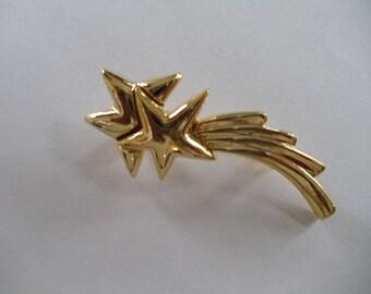 Vintage Goldtone Shooting Star  Pin  Signed Gerrys