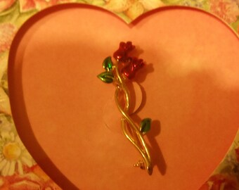 Valentine's Day  Keepsake Red Rose Pin & Card  UnSigned New View