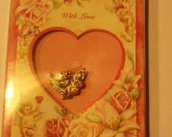 Valentine's Day  CUPID CHERUB Keepsake Pin & Card
