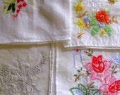 Vintage embroidered handkerchiefs