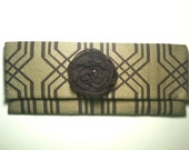 Olive and Brown Imperial Trellis Clutch
