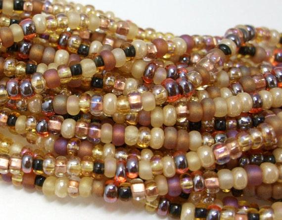 8/0 Czech Glass Seed Beads - Autumn Leaves Mix - One Single Strand -  No. 1024 - Free Shipping USA