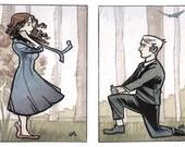 Original Watercolor ACEO - The Courtship