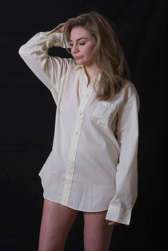 yves saint laurent ysl chemise white on white striped shirt. Black Bedroom Furniture Sets. Home Design Ideas