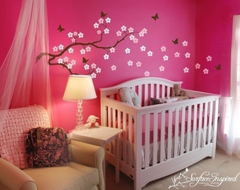 Wall Decal Nursery Tree Decal with Butterflies Cherry Blossom Branch