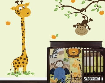 Wall Decal Nursery Giraffe And Monkey On A Branch Decal