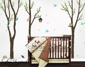 Tree Wall Decals with Birds and Animals. Baby birch nursery wall decals for boys and girls rooms. Custom tree wall decals for nursery.