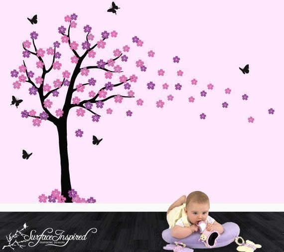 Kids Wall Decals - Blowing Cherry Blossom Tree - ON SALE