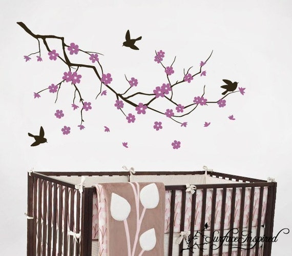 Wall Decal Nursery Branch Decal With Birds
