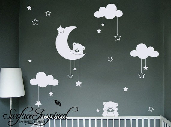 Nursery Wall Decals Cuddly Bear Wall Decals With Stars And
