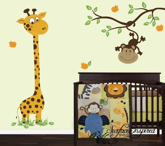 Safari Nursery Ideas: Wall Decal Nursery Giraffe And Monkey On A Branch Decal
