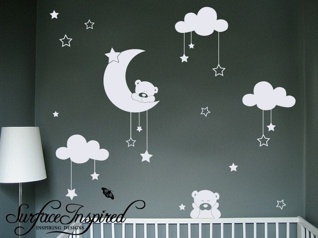 nursery wall decals cuddly bear wall decals with stars and. Black Bedroom Furniture Sets. Home Design Ideas