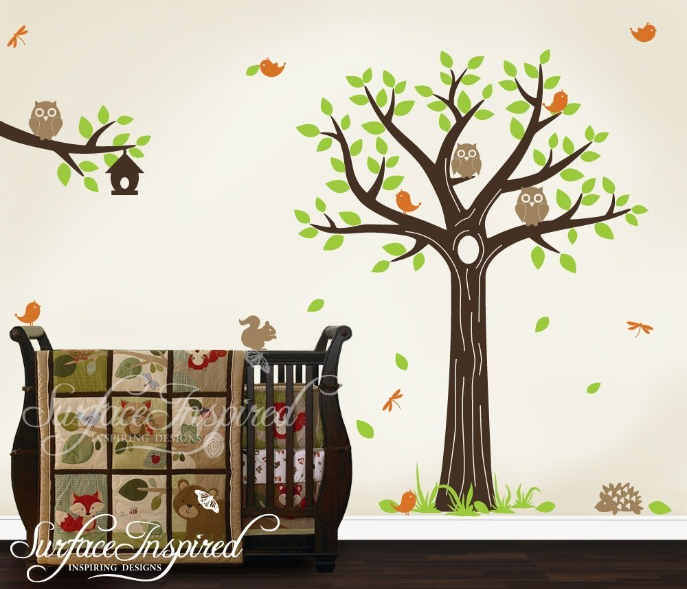Wall decal nursery tree decal with animals by surfaceinspired for Baby nursery tree mural