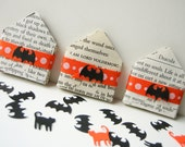 SALE - Halloween Miniature Envelopes made from spooky books with punched bats and cats - DIY-  orange and black - supplies - paper crafts